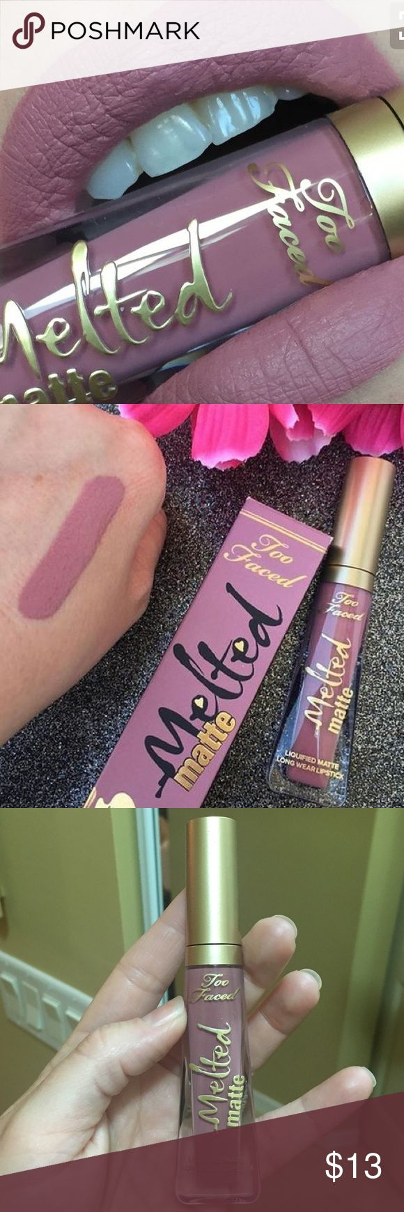 Too Faced Melted Matte Liquified long wear lipstick/gloss in Queen B. 100% Authentic (purchased at Sephora) and only swatched. I just prefer shiny over matte. Perfect neutral pink/purple color that looks good on every skin tone! Price firm. Too Faced Makeup Lipstick