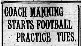 1941 Leesburg Yellow Jackets Football Archives, Coach Manning Starts Football Practice Tues., Friday, August 29, 1941, Carver Heights Quarterback Club, Leesburg High School, Leesburg, Florida