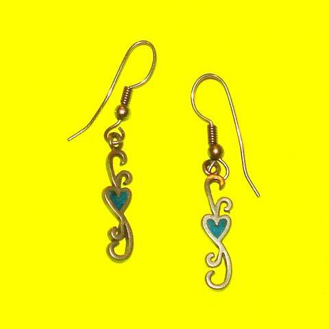 Pewter Heart Scroll Earrings - Mookie Designs Vintage