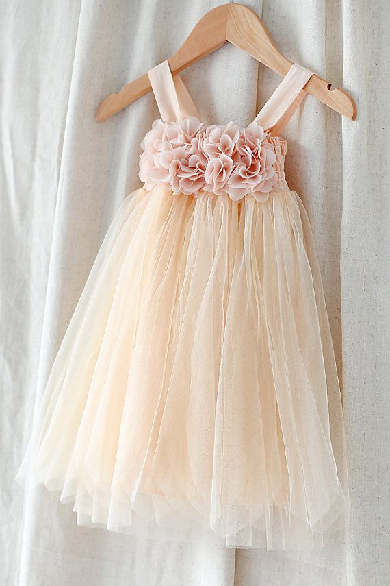 X'mas 30% OFF-Peach Girl vestido de flores de tul-infantil por LingsBridal