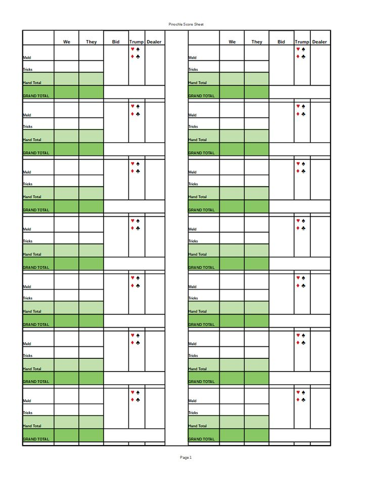 pinochle score sheet with hand  grand total  pinochle