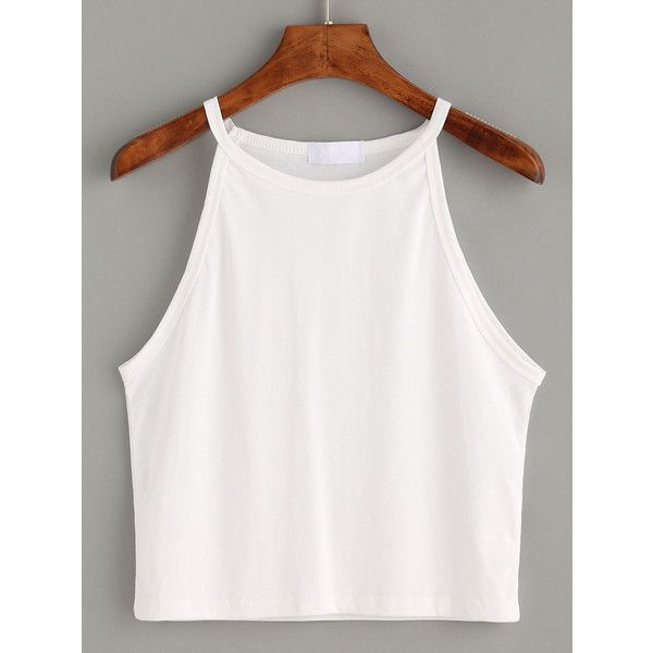 White High Neck Crop Cami Top (7.56 AUD) ❤ liked on Polyvore featuring tops, crop tops, shirts, tank tops, white, high neckline tank top, white cami, white tank top, white camisole and white crop tank