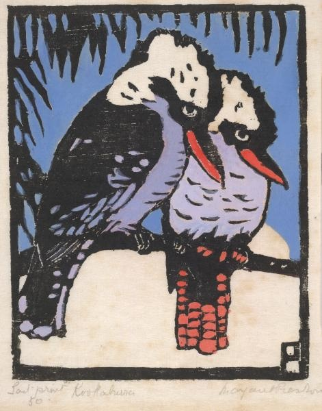 Kookaburras, hand coloured wood cut by Margaret Preston.