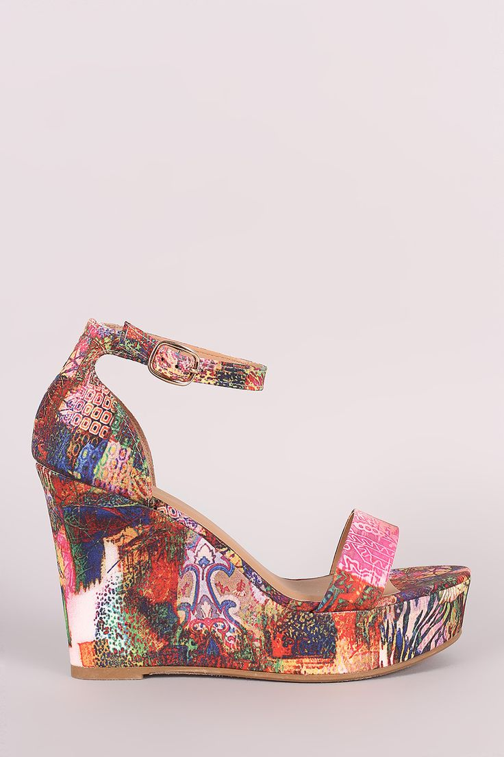 Bamboo Abstract Print Ankle Strap Platform Wedge - Kaneli Nomad Boutique