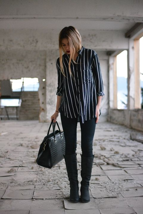 The Striped Shirt #fashion #outfit #outfits #bag #jeans #jacket #boots #shirt #style #fashion #beauty #style #fashionpost #blogger #fashionblogger