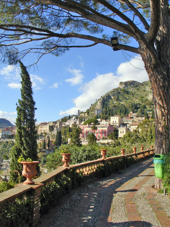Italy, view of Taormina and the hill