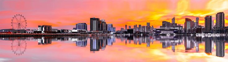Melbourne Docklands Panorama. Purchase this print in a beautifully prepared frame.  http://www.nikartphotography.com/