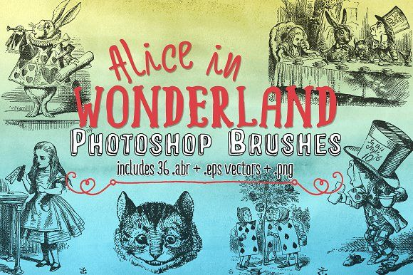 Alice In Wonderland Photoshop Brushe by Clikchic Designs on @creativemarket
