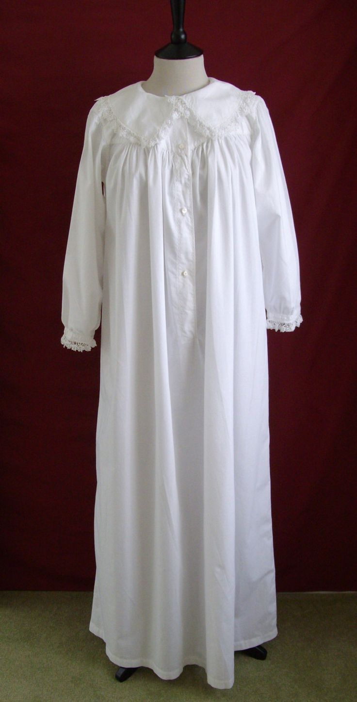 1880s  90s restored antique victorian nightgown nightdress with lace and embroidery