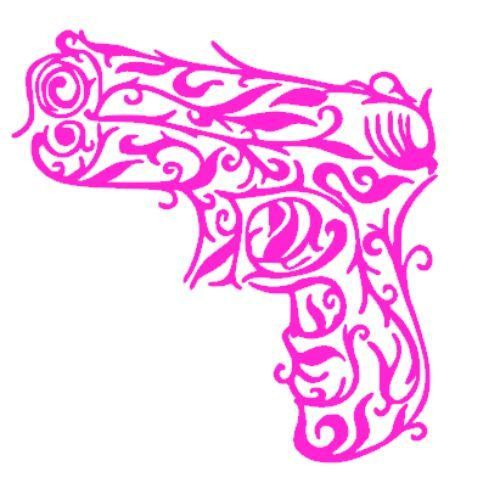 This is a must have for all Lady gun owners! This Pink Pistol decal measures 4 x 4 and is made from hot pink permanent outdoor vinyl. This is a die cut decal so there is no background. *Ask about other colors*