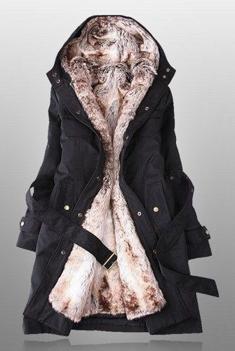 Shop parka with faux fur lining at deepblue. Perfect coats for you in winter. We ship the winter womens coats worldwide. It will take 2-3 weeks usually.  Size: S, M, L, XL, XXL, Color: Black,  Materia