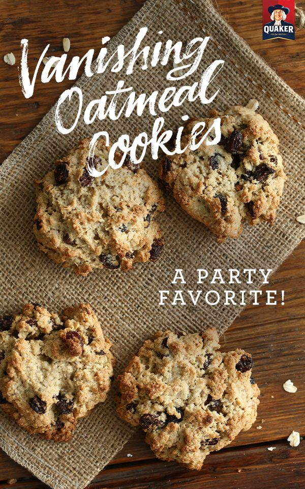 Make 4 dozen Vanishing Oatmeal Cookies in under a half hour! With 11 simple ingredients you can make a dessert that will be a definite party favorite! You can also make cookie bars by adding batter to a baking pan & following the directions on our website.