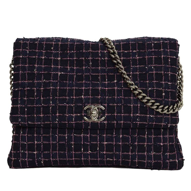 CHANEL 2015 Navy & Pink Tweed Flap Messenger Bag | From a collection of rare vintage crossbody bags and messenger bags at https://www.1stdibs.com/fashion/handbags-purses-bags/crossbody-bags-messenger-bags/