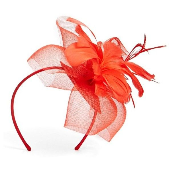 Nordstrom Feathered Sinamay Fascinator Headband ($38) ❤ liked on Polyvore featuring accessories, hair accessories, red, hair fascinators, red fascinator, fascinator hats, red headband and nordstrom hair accessories