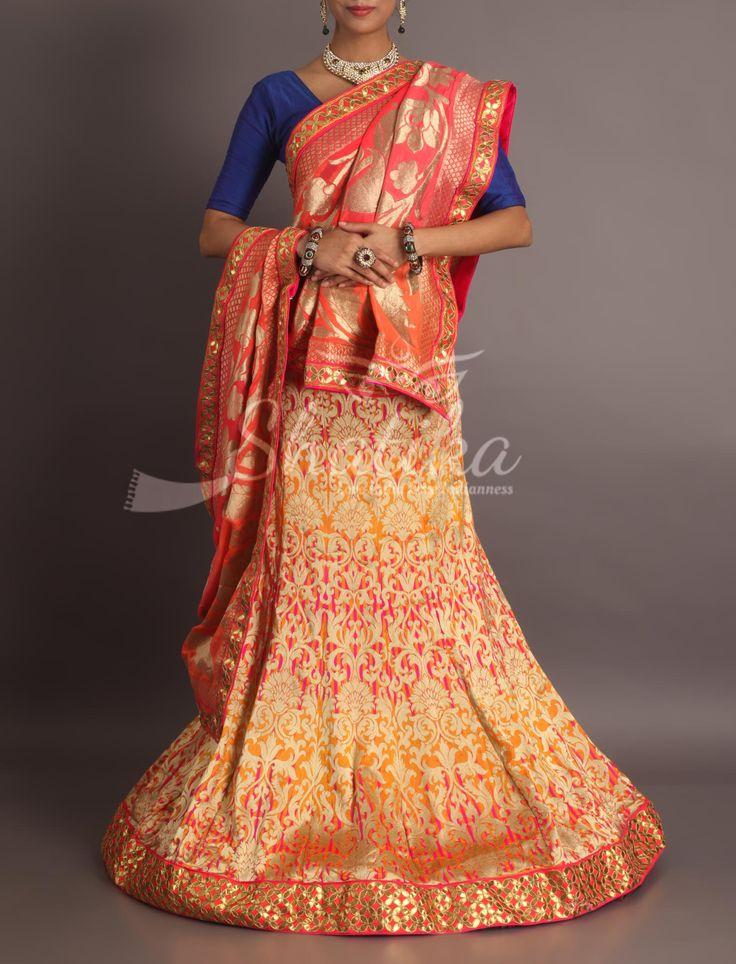 Megha Devi Orange Heavy Brocade With Gota Patti Border Royal Rajasthani Lehenga