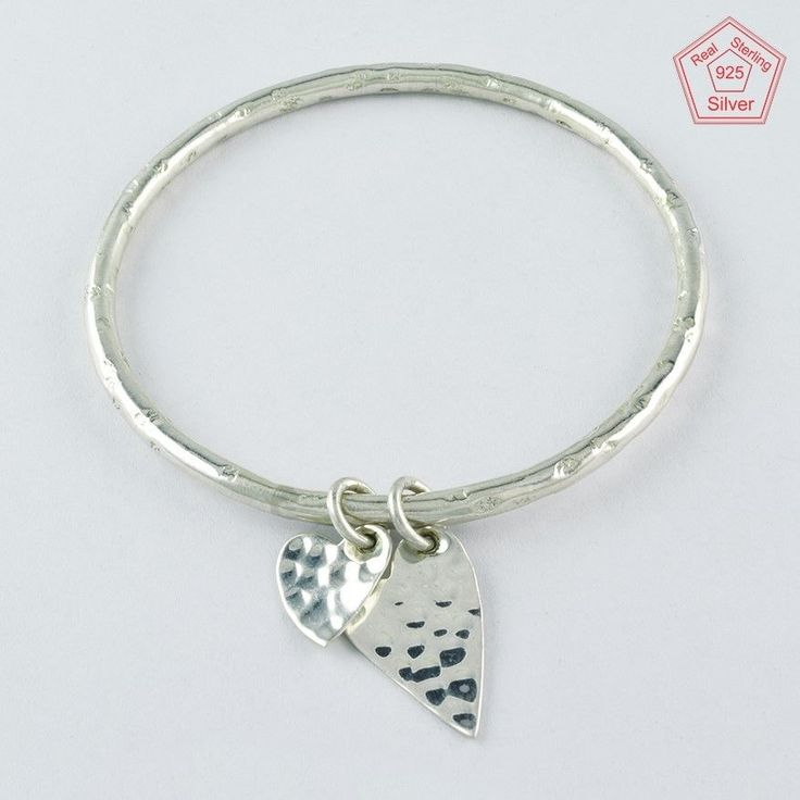 DOUBLE HEART DESIGN 925 STERLING SILVER BANGLE BR4360 #SilvexImagesIndiaPvtLtd #Chain