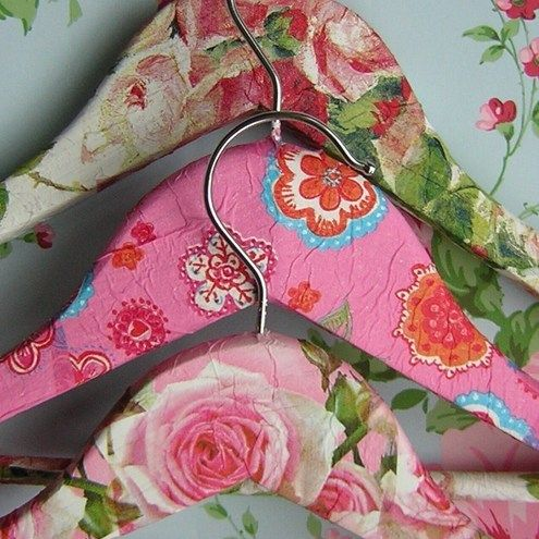 Plain wooden clothes hangers be gone.....Three shabby chic decoupage wooden coat hangers - they make putting your clothes away a joy!