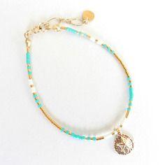 Bracelet en perles de rocailles bleur turquoise