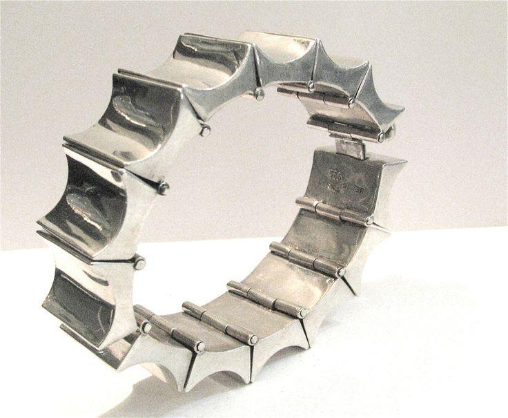 Armreif Silber Mexiko modernistisches Design Armband Art Déco sechziger Jahre `Machine Age´, modernistic silver bracelet sixties mexico