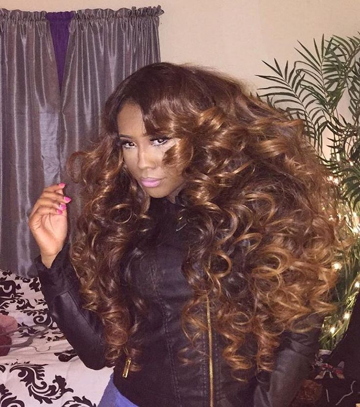 """BIG...BOLD...BOUNCY! These big curls in our Brazilian wavy hair has us SWOONING! This look was achieved with 5 bundles of our Brazilian wavy in 28"""", a custom color, and finished off with large curls created with a large curling iron. #VanityVixensOnly"""