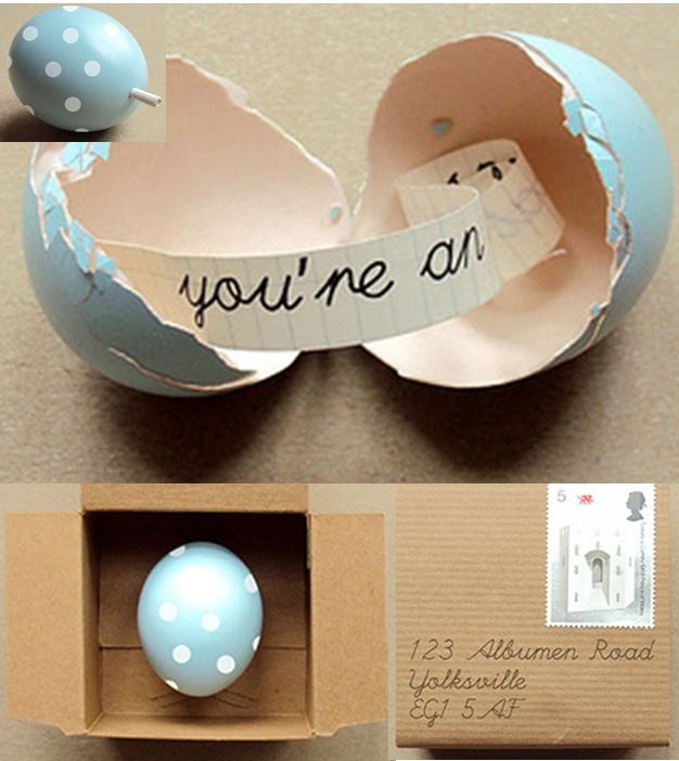 Tutorial: Put a note in a painted egg and mail it to someone... So cute!