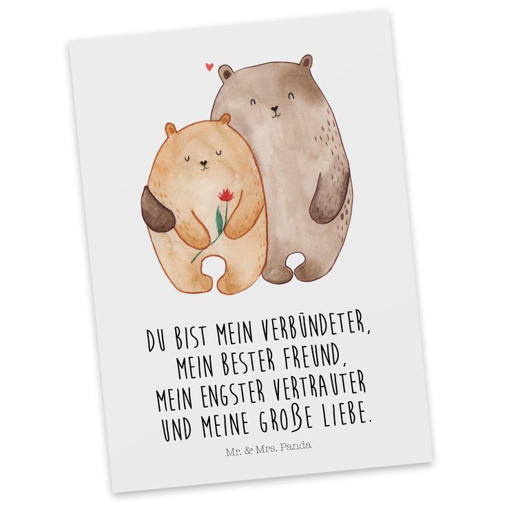 Postkarte Bären Liebe aus Karton 300 Gramm weiß - Das Original von Mr. & Mrs. Panda. Diese wunderschöne Postkarte aus edlem und hochwertigem 300 Gramm Papier wurde matt glänzend bedruckt und wirkt dadurch sehr edel. Natürlich ist sie auch als Geschenkkarte oder Einladungskarte problemlos zu verwenden. Jede unserer Postkarten wird von uns per Hand entworfen, gefertigt, verpackt und verschickt. Über unser Motiv Bären Liebe Das Gefühl verliebt zu sein und seinen Verbündeten gefunden zu haben