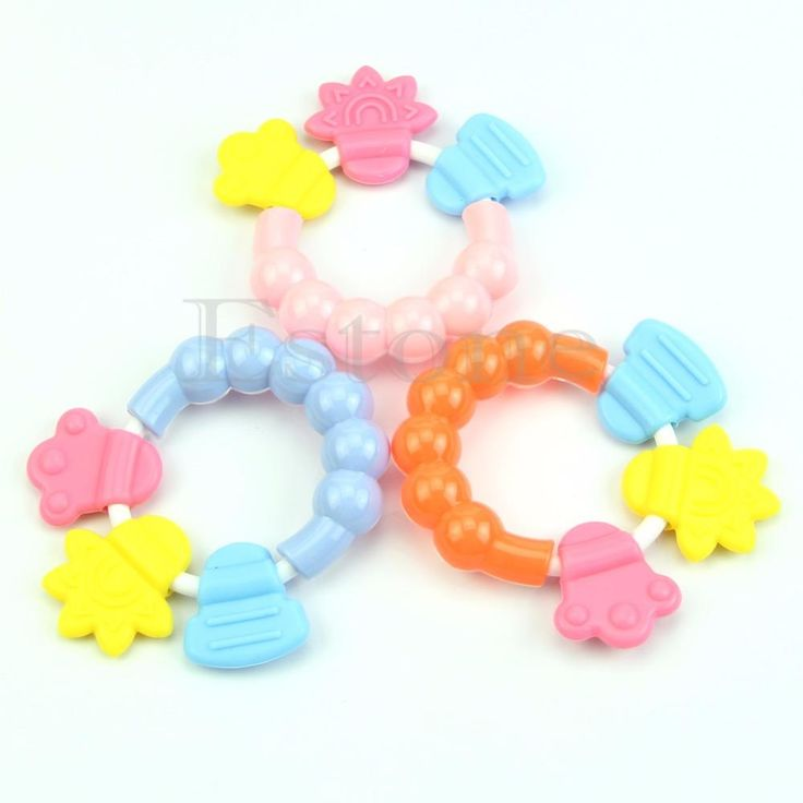 1pc Baby Toddler Teether Chew Toy Molar Rod Silicone Handbell Jingle Design -B116