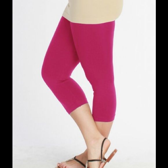 Nikibiki Plus Size Capri Leggings Fits Maternity Plus size thicker fabric Capri leggings with enhanced elastic waistband.  These are perfect for gym class or with a heel - very versatile.  The material is lightweight and stretchy to give you comfort and coverage.per stretchy material gives complete coverage.  Perfect for maternity stretch as you stretch.  Best fit is for size 10/12 and above to keep them opaque.  92% nylon, 8% spandex niki biki Pants Leggings