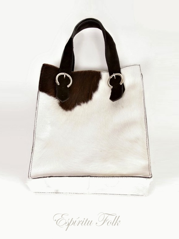 COW SHOPPING BAG $180.- Real leather mix black & white. Collection available at espiritufolkstore.