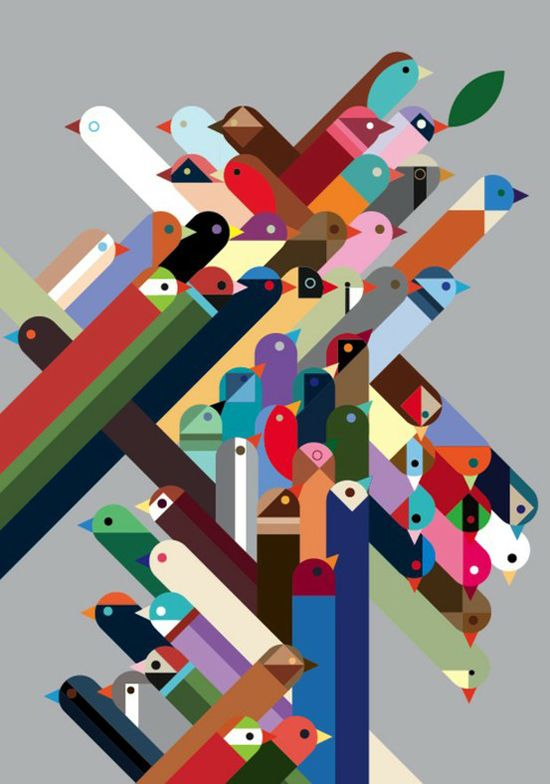 Birds truly twitter in color... could make a cool abstract infographic about twitter