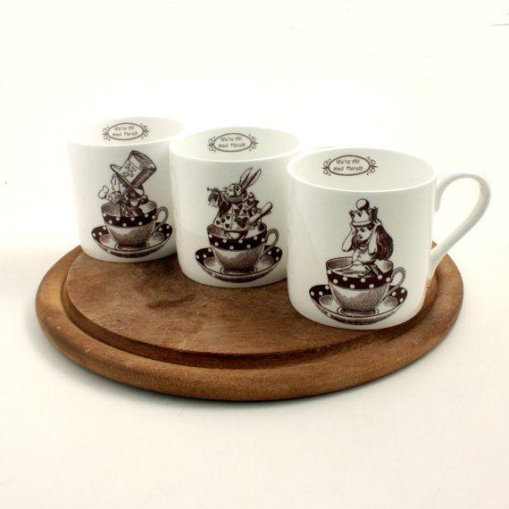 3 Alice in Wonderland Bone China Mugs Hatter by MoreThanPorcelain