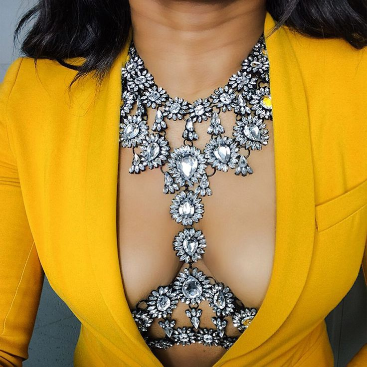 Summer Long Body Chain Sexy Handmade AB Crystal Gem Chunky Maxi Facebook Luxury Gem Statement Necklace Femme 3415