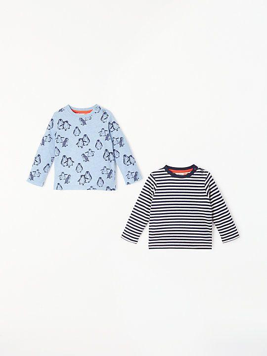 0beacee29 John Lewis & Partners Baby Penguin/Stripe Top, Pack of 2, Blue ...