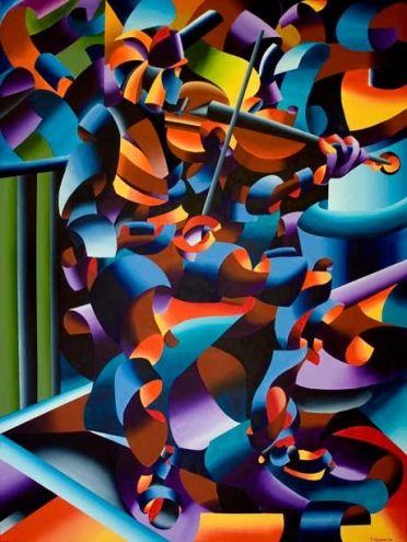 The Violin Player in Paris by Mark Adam Webster #violin #player #futurism #art #paris