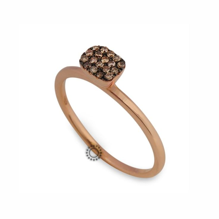 Πρωτότυπο δαχτυλίδι από ροζ χρυσό Κ18 με μικρά καφέ (κονιάκ) διαμάντια μπριγιάν | Δαχτυλίδια με διαμάντια ΤΣΑΛΔΑΡΗΣ στο Χαλάνδρι #καφέ #διαμάντια #δαχτυλίδι #rings #diamonds