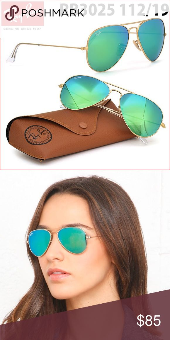 New Ray-Ban Flash Green Sunglasses Gold Frame 58mm Reflect your style with Ray-Ban Aviator Flash lens sunglasses, one of the most iconic sunglass models in the world. Ray-Ban RB3025 Aviator Flash Lenses reinvented the standards of the market with its unique teardrop shape and flash lens combination. Green mirror lenses are one of the most impressive in the mirror collection. Made in Italy, original, authentic, comes with original brown case and cloth. Hybrid surface of lenses provides ...