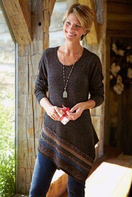 Petites Raku Tunic - Striped Tunic Top, Knit Tunic, Scoop Neckline | Soft Surroundings