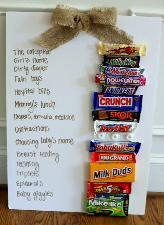 Baby Shower Candy Game  This one is fun.  I think we did this at my cousin's shower (though we didn't have the candy bars we just had paper with the phrases and candy names).