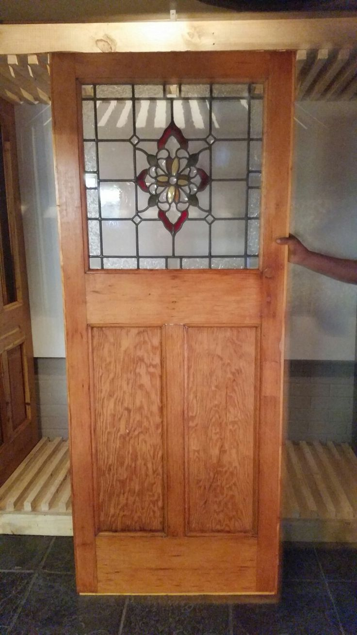 Recycled stained glass internal door.