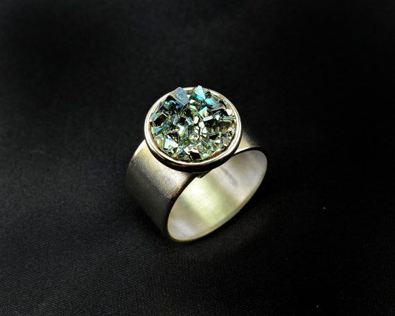 Little Blue Button Ring, Iridescent Bismuth Metal Crystal on a Pewter finish Adjustable Ring. Unique, Fractal, Artistic Jewelry