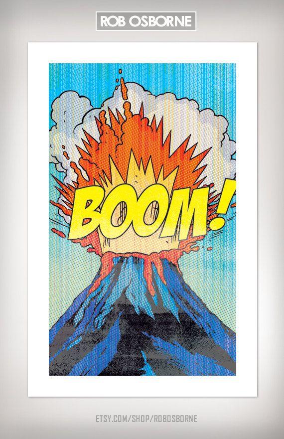 VOLCANO BOOM Comic Book Modern Pop Art Print 11x17 by Rob Osborne. $20.00, via Etsy.