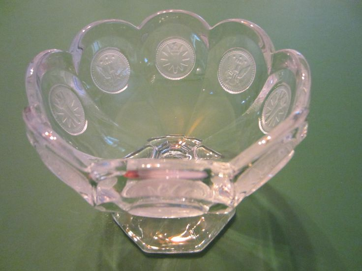 Fostoria Jelly Bowl Compote Depression Stem Glass Coin Decorated