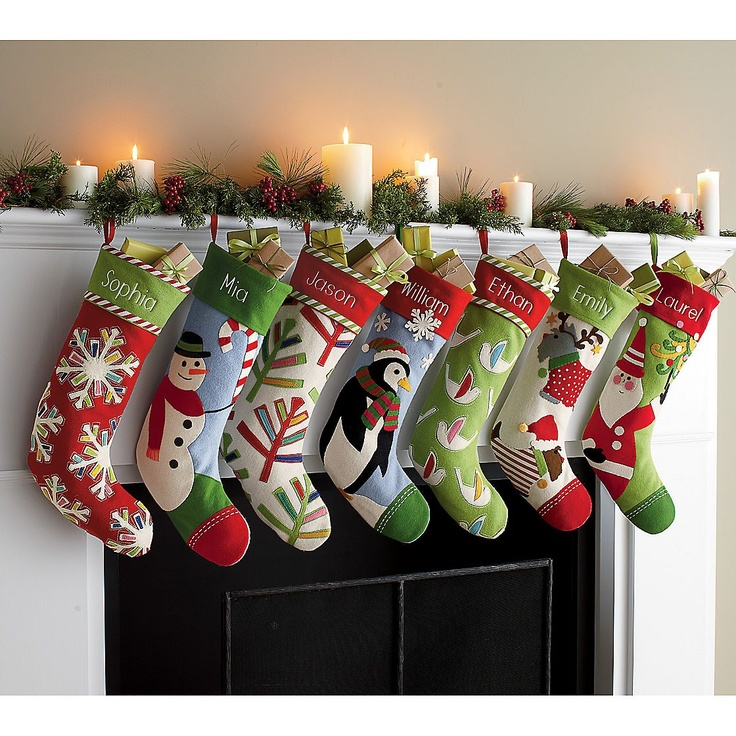 I love these felt stockings from The Company Store the far left, third from left, and fifth, that is.