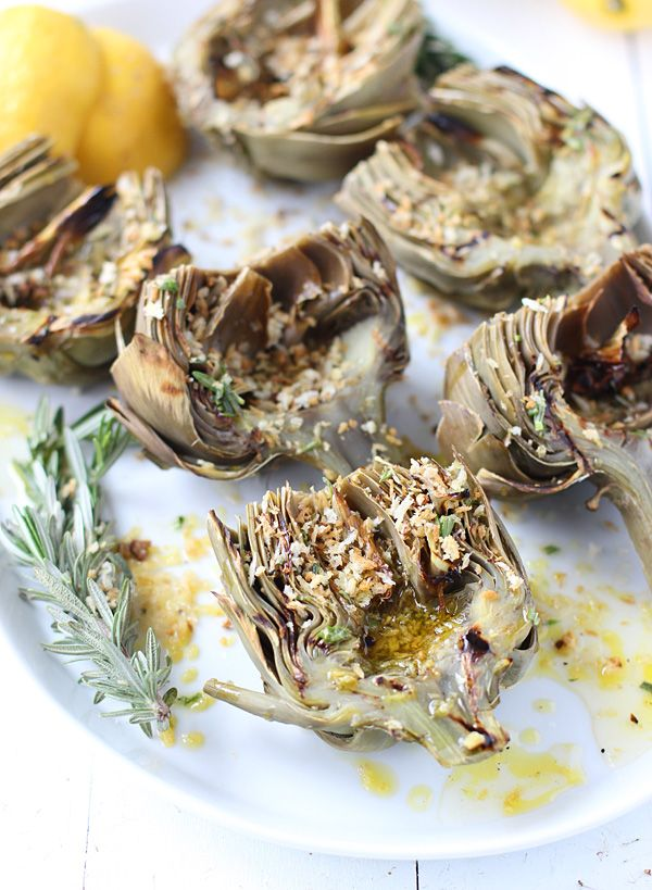 Grilled Artichokes with Rosemary Lemon Vinaigrette and Garlic ...
