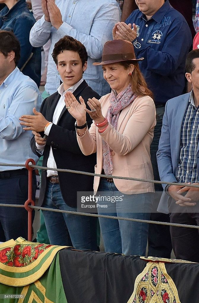Princess Elena and her son Felipe Juan Froilan de Marichalar attend bullfighting on June 18, 2016 in Torrejon De Ardoz, Spain. (Photo by Europa Press/Europa Press via Getty Images)