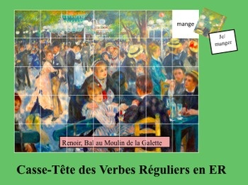 French Verb Form Image Puzzles to Practice ER Verb Forms