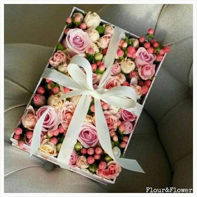 Boxed arrangement by Flour&Flower, Bahrain. Visit our Instagram profile @mylittleflowershop