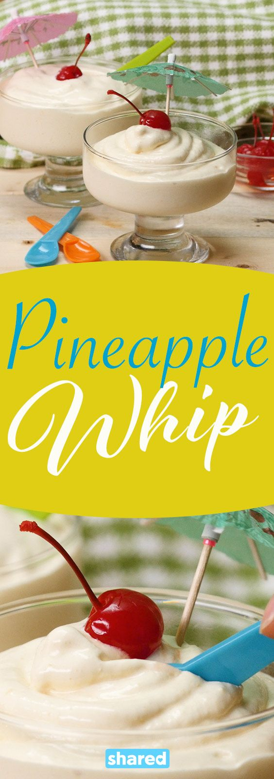 This pineapple whip has everything you need to cool off this summer, tropical flavor and a creamy ice cream texture! Make sure to make enough for seconds, because everyone will be asking for more.