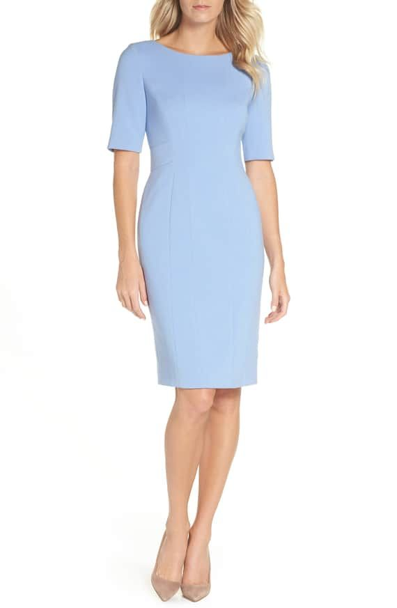 Eliza J Bateau Neck Crepe Sheath Dress Nordstrom Work Dresses For Women Fashion Outfits Ladies Day Outfits