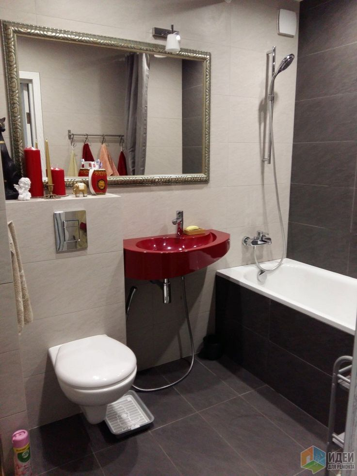 Отделка ванной комнаты, красная раковина